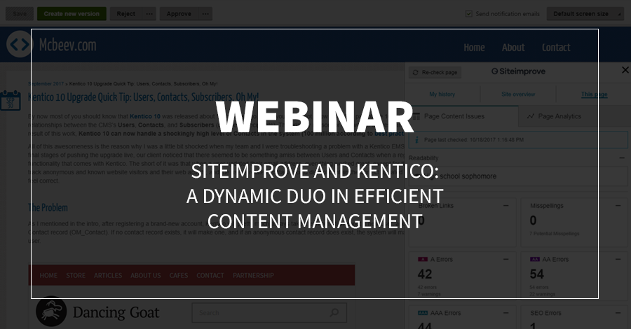 Webinar: Siteimprove and Kentico: A Dynamic Duo in Efficient Content Management