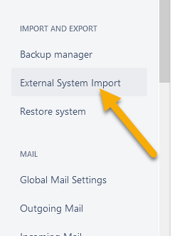 External System Import option location