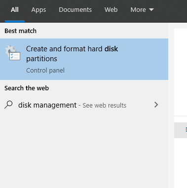 Disk Management window
