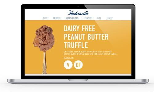 Image of Hudsonville Ice Cream's homepage