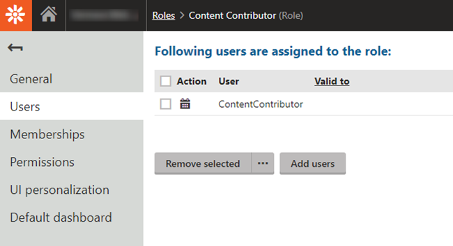 "Screen Capture of ""Roles Application"""