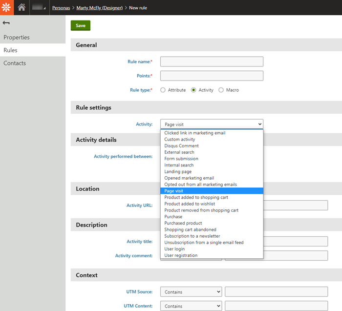 New rule fields for Kentico Xperience