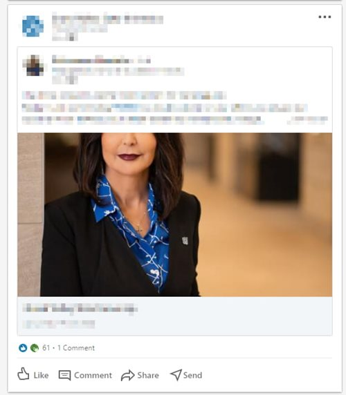 Example of cropped social image on LinkedIn