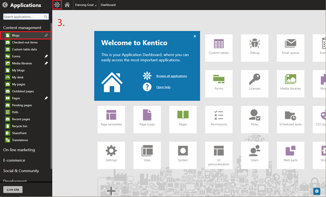 Example of adding a tile to the Kentico Dashboard