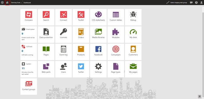 Image showing Home Icon on Kentico Dashboard