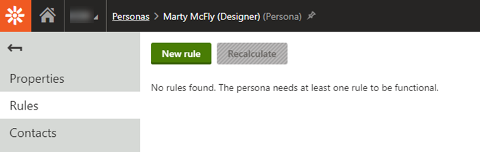 New rule button in Kentico Xperience