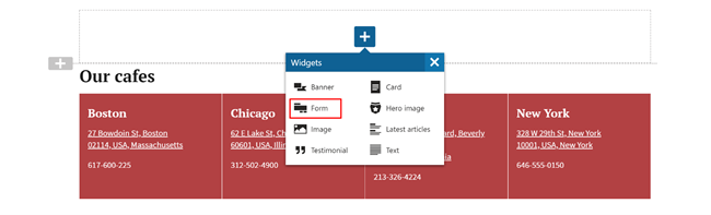 Kentico Form Page Builder Widget